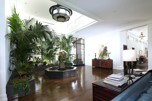 foyer glass wood floor planters
